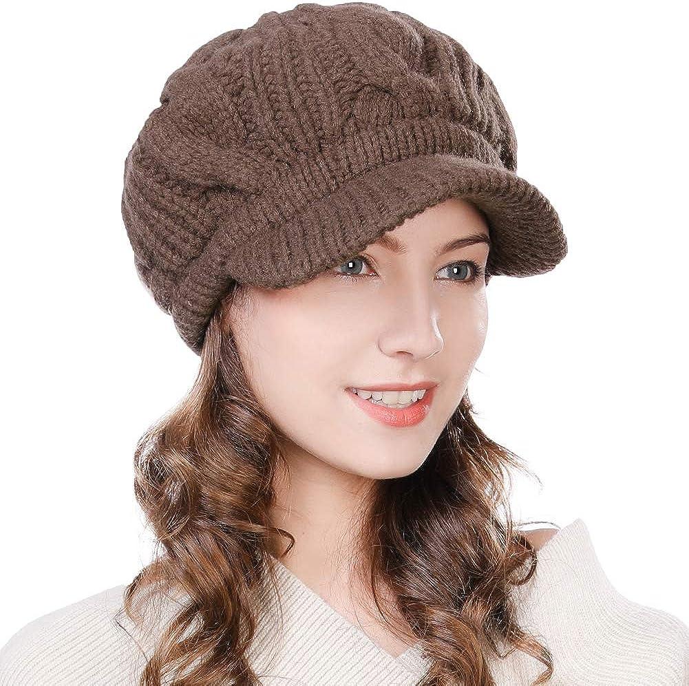 SYAYA Women Winter Warm Knit Hat Wool Snow Ski Caps with Visor DMZ01