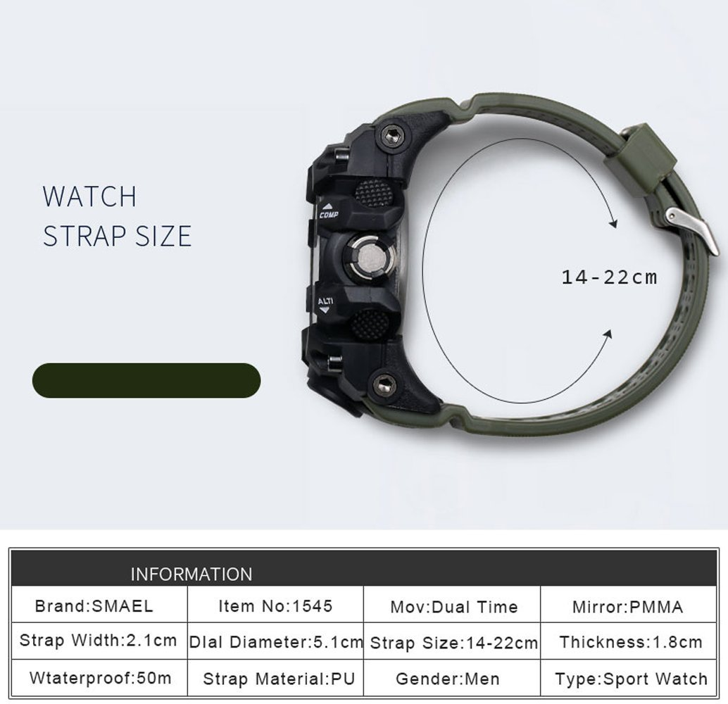 ... Analog Quartz Watch Dual Display Waterproof Digital Watches with LED Backlight relogio masculino El Movimiento de los relojes: Health & Personal Care