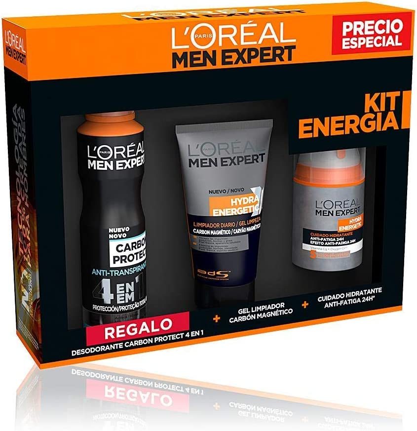 L'Oréal Paris Men Expert Hydra Energetic - Kit de Energía, Crema Hidratante, Gel Limpiador y Regalo Desodorante