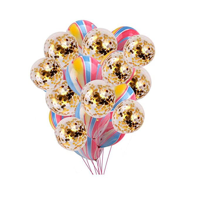 New Boss 10 Pack Gold Confetti Balloons 10 Pack Mixed Color Party Balloons, 12 inch Latex Party Balloons, Decoration Supplies Helium Balloons Great Birthday, Wedding, Engagement