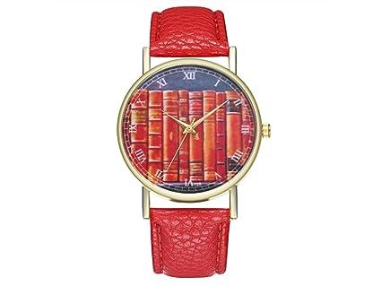 YIIO Reloj Exquisito Libros Antiguos Bibliotecario Estilo Vintage Reloj de Cuero para Mujeres Reloj de Hombre