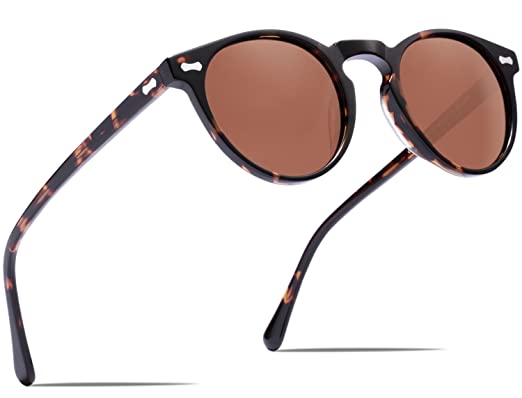 Carfia Retro Runde Sonnenbrille Outdoor Polarisierte Sonnenbrille für Damen Herren, 100% UV 400 Schutz (Rahmen: Schildpatt; Linsen: Braun)