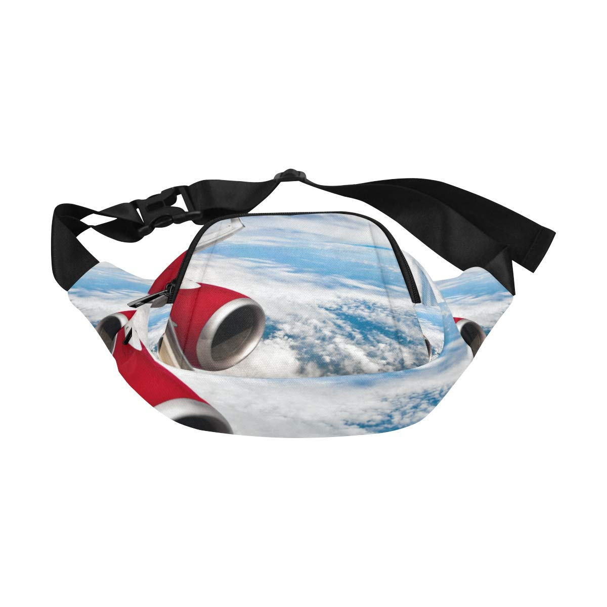 Passenger Aircraft Turbine Waiting To Leave Fenny Packs Waist Bags Adjustable Belt Waterproof Nylon Travel Running Sport Vacation Party For Men Women Boys Girls Kids