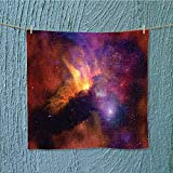 quick dry towel large Stars and Nebula Gas and Dust Cloud Celestial Solar Galacy System Print Red Orange Fluffy, and Absorbent, Premium Quality W13.8 x W13.8 INCH
