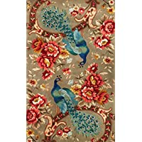 KAS Rugs 0732 Catalina Peacock Flora Area Rug, 30 by 50-Inch, Sage