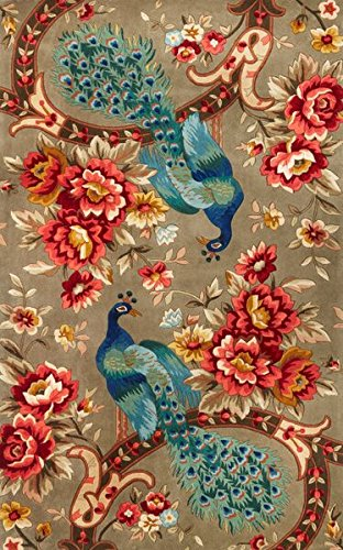 Kas Rugs 0732 Catalina Peacock Flora Area Rug, 5 by 8', - Rug Floral Catalina