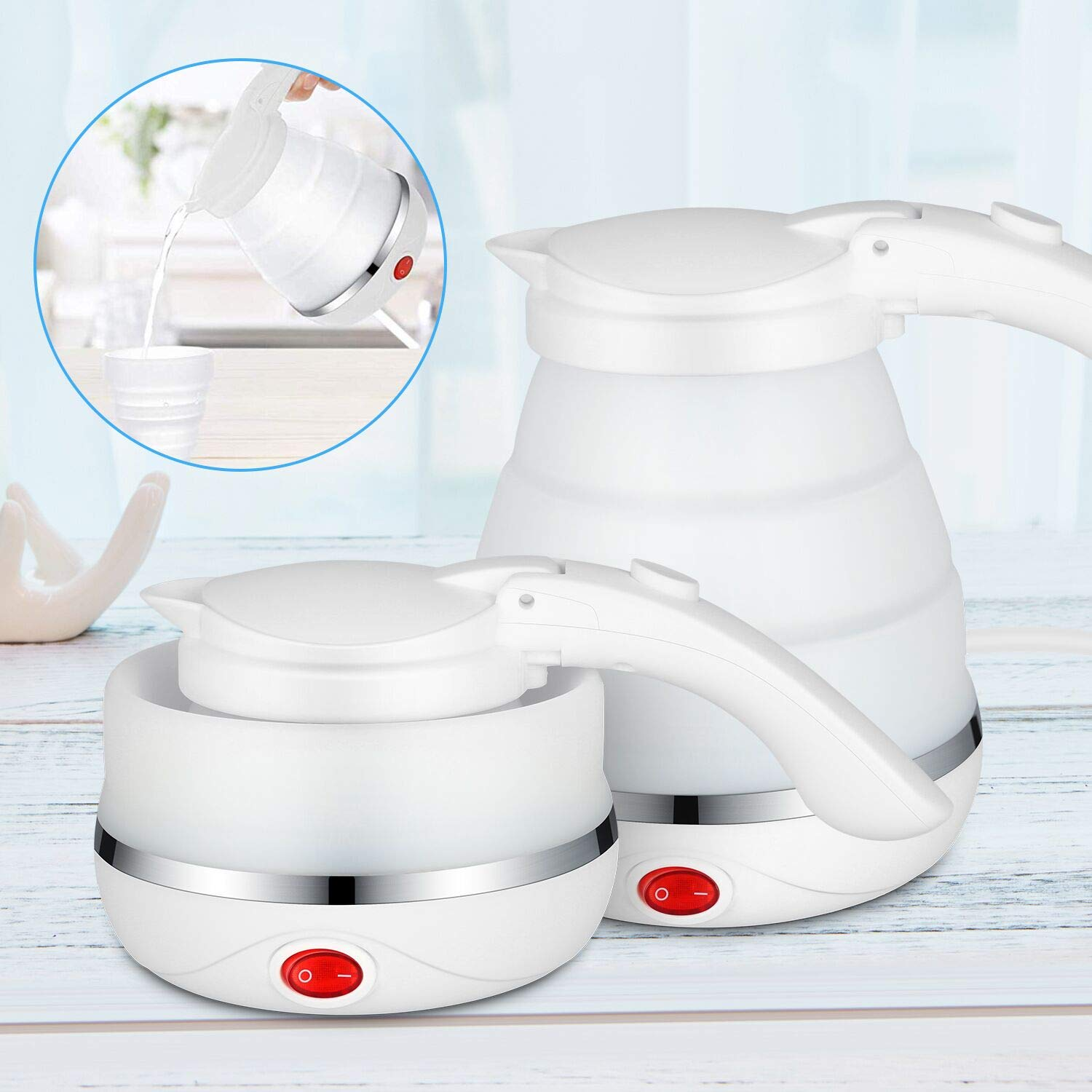 V VONTOX Foldable Travel Electric Kettle, Foldable Kettle Dual Voltage 100V-240V, with Folding Cup, Food Grade Silicone, 750ML-Boil about 5 Minutes, Portable, Used in Coffee, Tea, Milk, etc