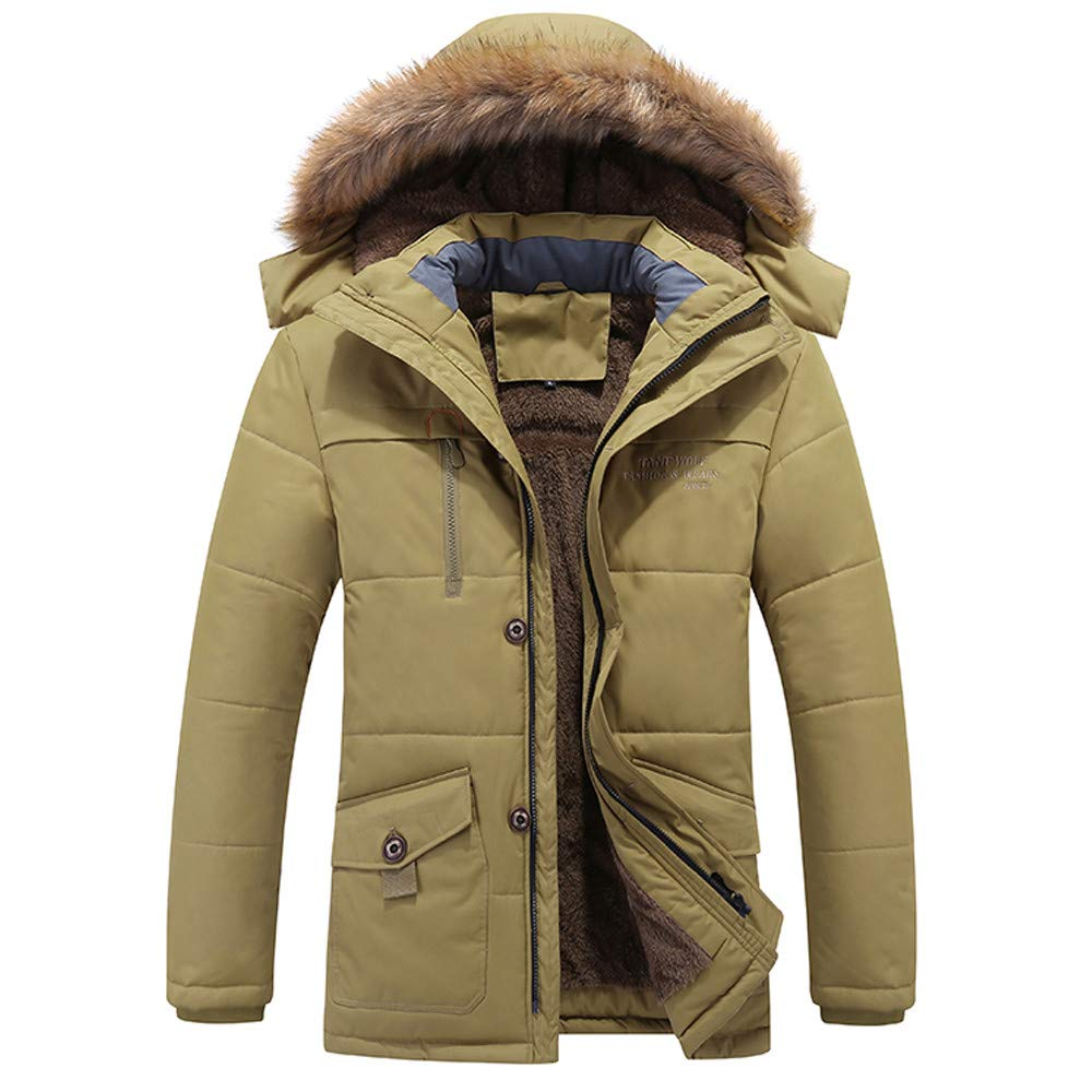 Fashion Men's Thickened Hooded Jacket G-Real Winter Medium Length Zipper Plus Size Cotton Outwear Coat