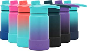 Simple Modern 14 Ounce Summit Water Bottle with Chug Lid & Protective Boot - Hydro Vacuum Insulated Flask 18/8 Stainless Kids - Ombre: Tropical Seas
