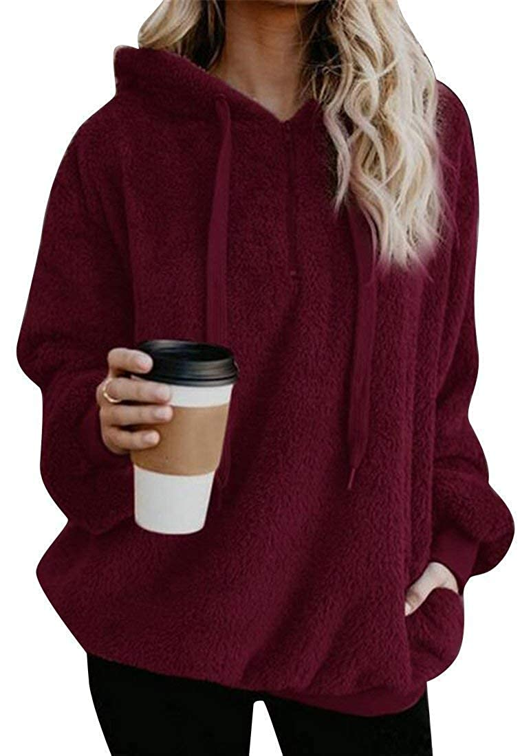 Hadudu Womens Outerwear Zip Trim Drawstring Flannel Pullover Hoodies Sweatshirt