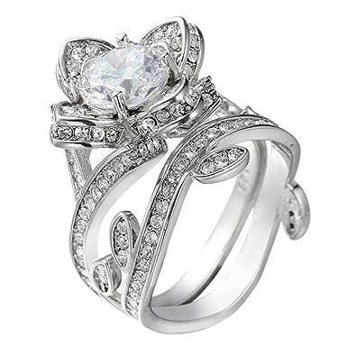 Amazoncom Mysky Women Fashion Lotus Flower Engagement Ring