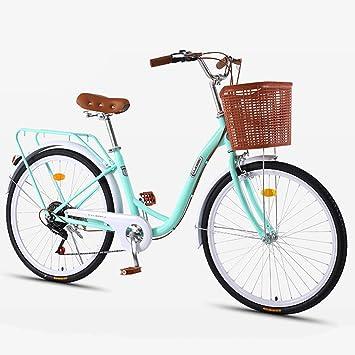 ZXLLO Bicicleta para Mujeres De 24 Pulgadas con La Cesta 7 ...