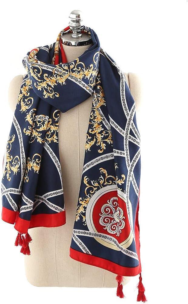 AiNaMei Damas de primavera, otoño e invierno cálido chal bufanda de algodón