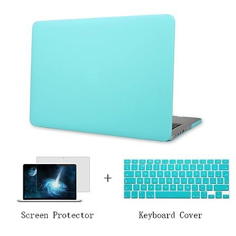 Batianda Plástico Funda Dura Carcasa para MacBook Pro 13 Retina & Cubierta del Teclado & Protector de Pantalla,Menta Verde
