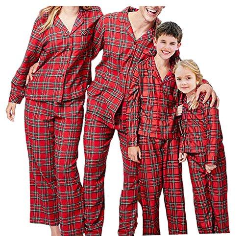 Christmas Family Matching Pajamas PJs Set Plaid Christmas Pajama Set for Family (Kids, 7T)