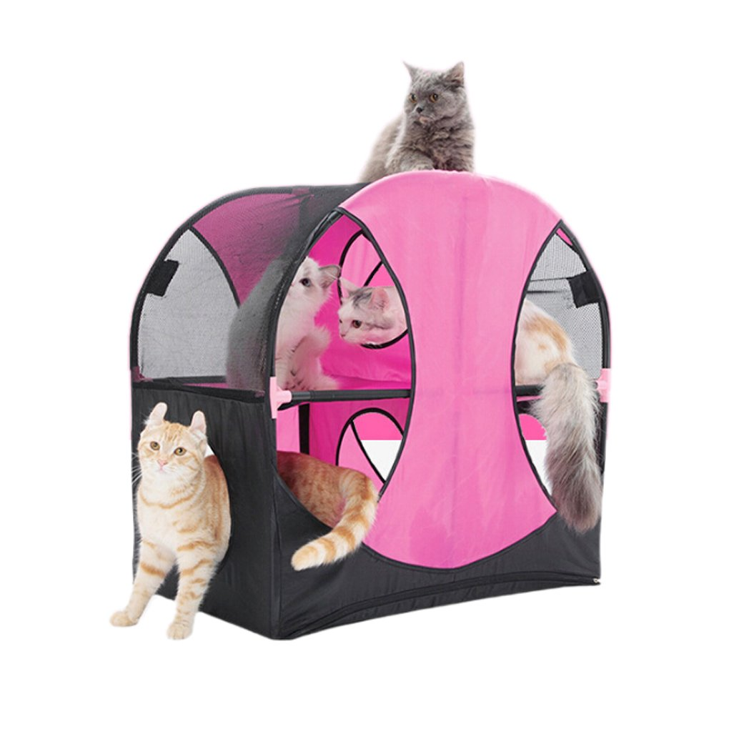 Cat Tunnel Pink Ferris Wheel Cat Toy Cage Tent Tunnel Wheel of Fun by Meiying