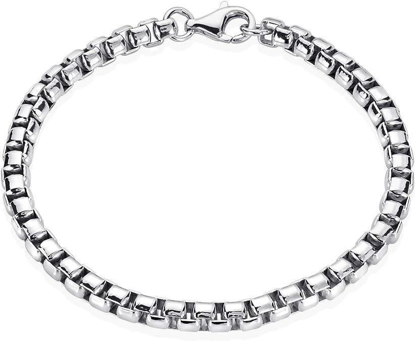 MATERIA Herren Armband 925 Silber 6mm Ankerkette Männer rhodiniert diamantiert