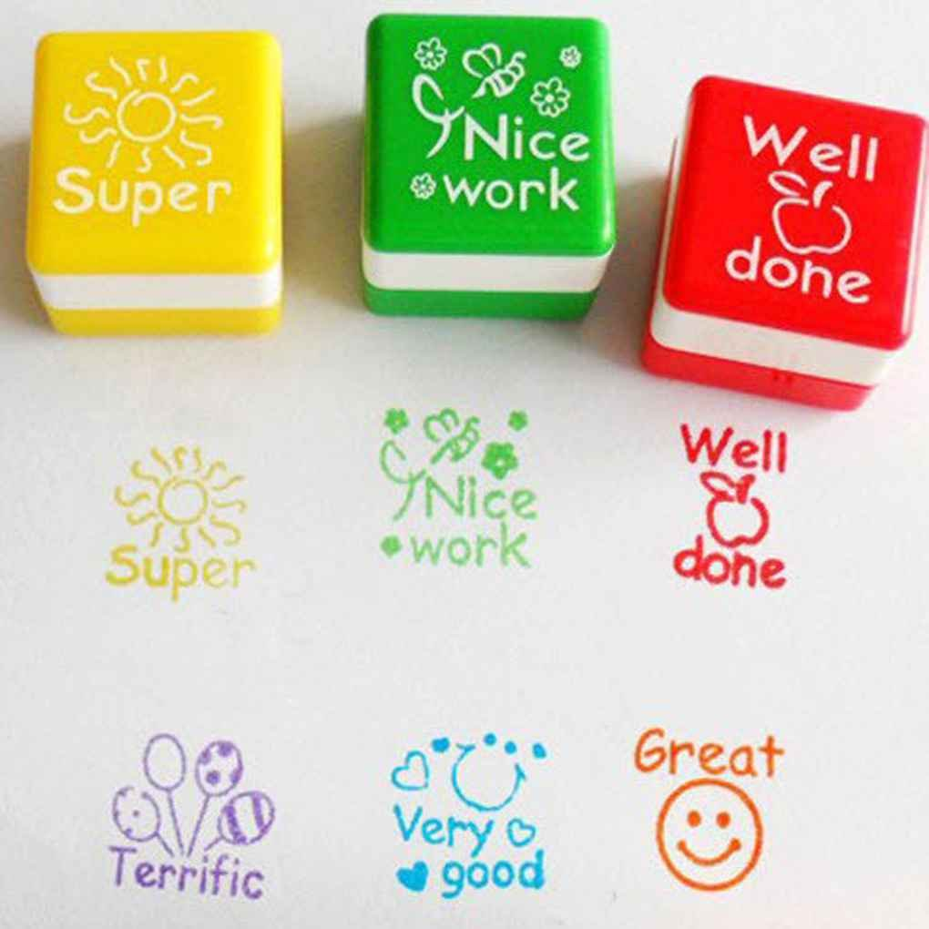 Gankmachine 6pcs English Teachers Encourage Stamp Seal Water Self-Inking Kid Cartoon Encouragement Toys