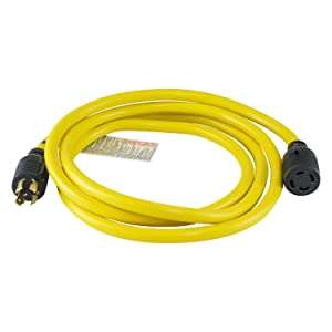 Houseables Generator Cord, Electric Extension Wire, 4 Prong, 30 Amp, 125-250v, Single, Yellow, 10 Ft, All Rubber, 10 Gauge, Heavy Duty, L14-30, Transfer, Electrical Power Cable, With Locking Switch