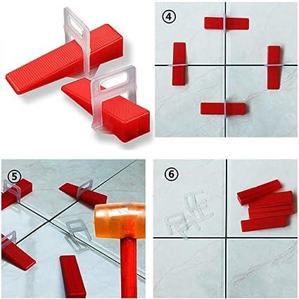 Level Floor Cross Spacers Tiles Tools,Sistema De Nivelaci/ón De Azulejos 200pcs 2.0mm Clips 100pcs Wedges For Tiling Tools