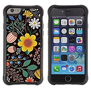 WAWU Funda Carcasa Bumper con Absorci??e Impactos y Anti-Ara??s Espalda Slim Rugged Armor -- flowers black drawing painting clean -- Apple Iphone 6 PLUS 5.5