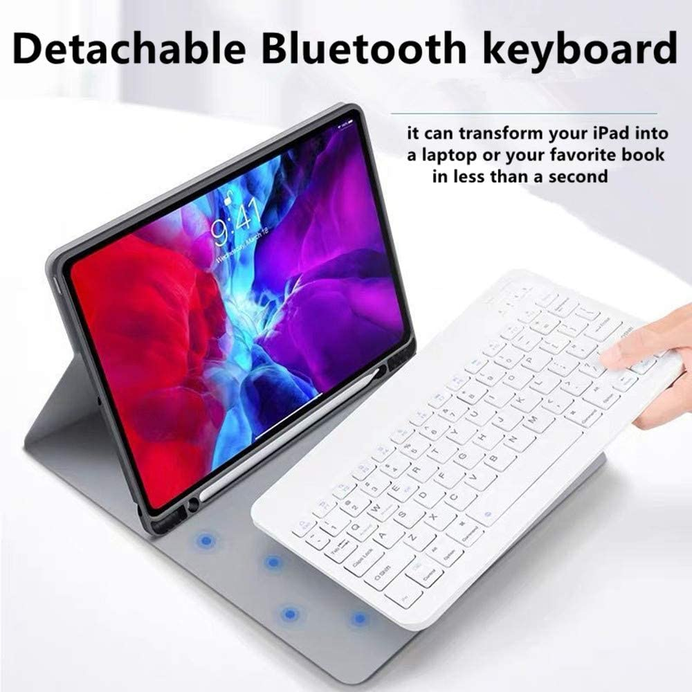 Support Apple Pencil Charging Blue 4th Gen iPad Pro 12.9 2020 Keyboard Case - Detachable Wireless Keyboard - Folio Stand Cover with Pencil Holder for iPad Pro 12.9 Inch 2020