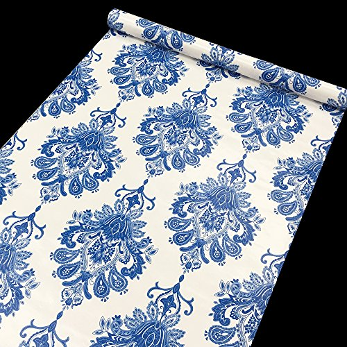 Review SimpleLife4U Blue Damask Self-Adhesive Shelf Drawer Liner Waterproof Contact Paper By SimpleLife4U by SimpleLife4U