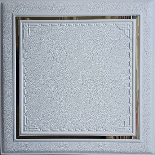 3D Faux Leather wall panel LT-35 White. The set of 6 soft 3D glue up panels (15.75