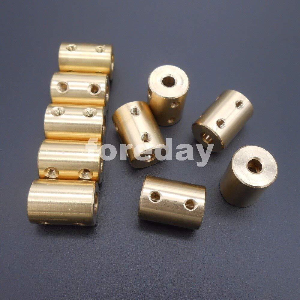 Fevas 10PCS Brass 7-7 7mm to 7mm Coupling Coupler Length 22mm Dia.16mm Shaft Motor Rigid Coupling Coupler 7MM to 7MMFD297X10+4