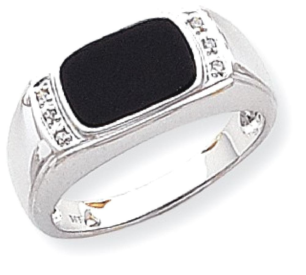 ICE CARATS 14k White Gold Black Onyx A Diamond Mens Band Ring Size 10.00 Man Fine Jewelry Dad Mens Gift Set by ICE CARATS (Image #1)