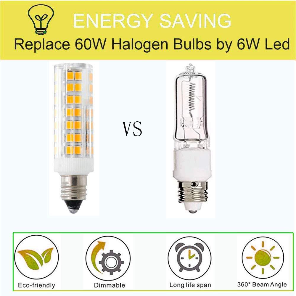E11 LED Bulb,Dimmable E11 Candelabra Bases,6W Equivalent 60W,580LM,Omni-Directional 360 Degree Beam Angle,120Volt Warm White 3000K-2packs