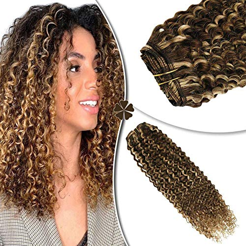 Hetto 20 Inch Hair Extensions Curly Hair #4 Brown Highlighted with #27 Blonde Curly Hair Extensions Remy Clip in Human Hair Extensions Colored Clip in Hair Extensions 7 Pieces 100 Grams