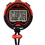 SCGK Memory(30) 3 Line Display Digital Professional Sports Stopwatch with Stroke Rate,Countdown Display Timer Alarm Clock Pacer Water Resistant for Coaches, Runners and Athletes