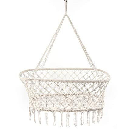 Swell Herethere Macrame Cradle Hanging Bassinet Portable Baby Handmade Natural Cotton Swing Hammock Large Weight Capacity Hanging Crib Indoor Outdoor Pabps2019 Chair Design Images Pabps2019Com