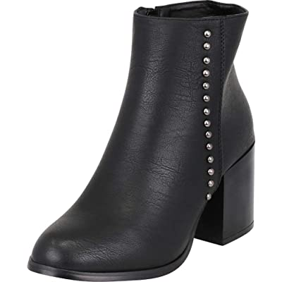 Cambridge Select Women's Dome Studded Chunky Mid Heel Western Distressed Ankle Bootie: Shoes