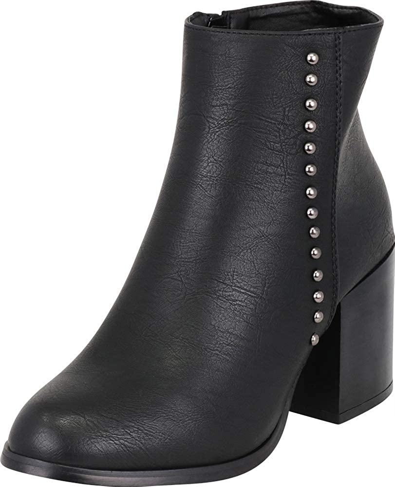 Black Pu Cambridge Select Women's Western Distressed Dome Studded Chunky Heel Ankle Bootie