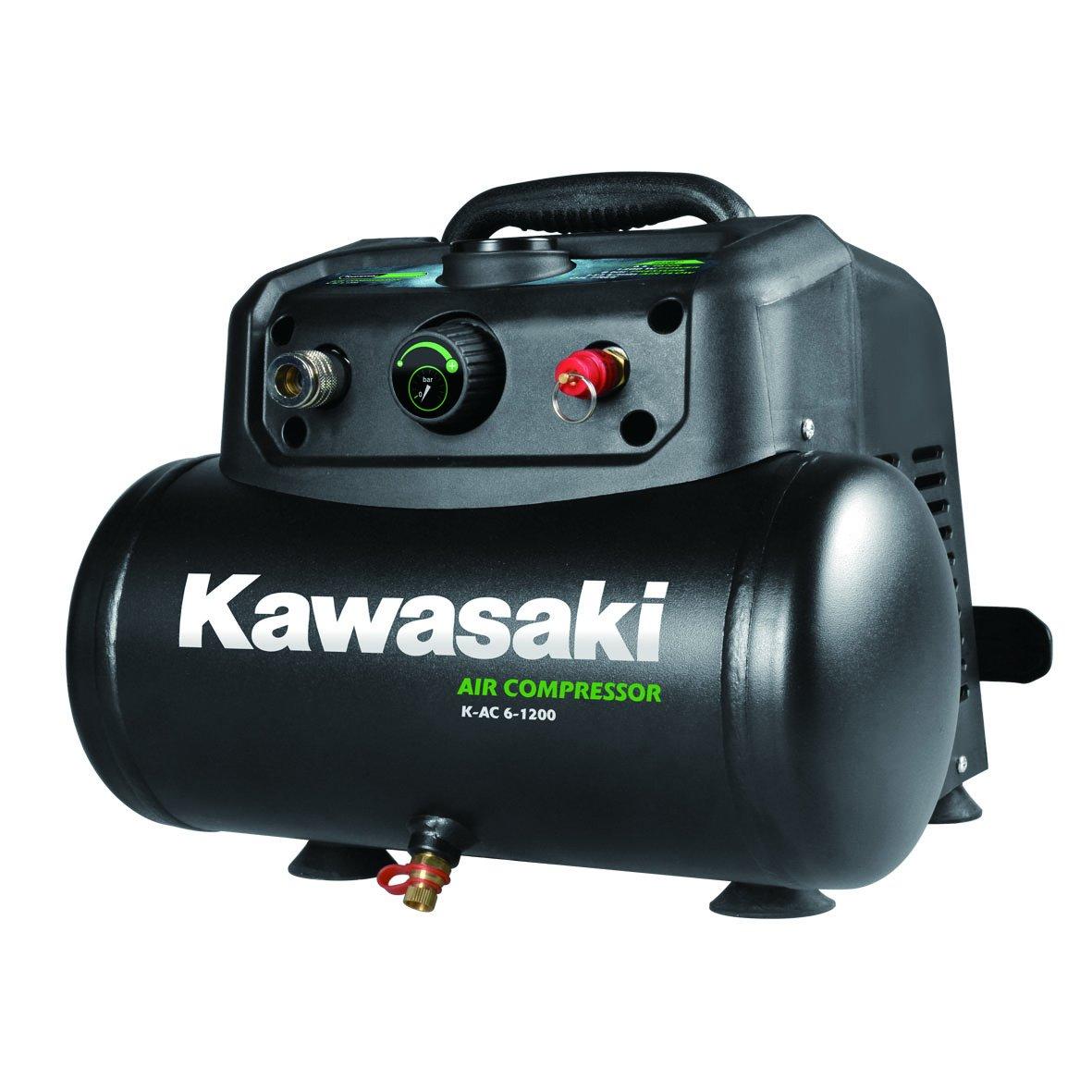 Kawasaki Kompressor, Luftkompressor, 1200W, Ö lfreier Motor, 8 Bar, 6 Liter Tank, tragbar, 180 l/min Matrix 603010980