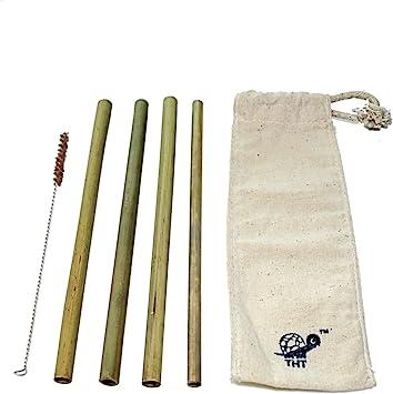 The Happy Turtle - Pajitas de bambú reutilizables sin químicos con ...