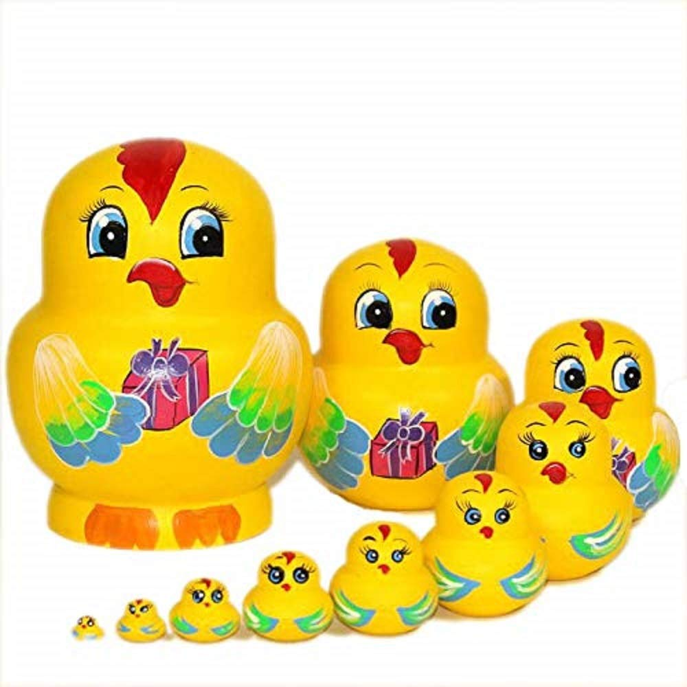 NY 10 pcs Cute and Funny Wooden Yellow Chicken Stacking Toys/Russian Nesting Dolls/Matryoshka Gifts for Kids