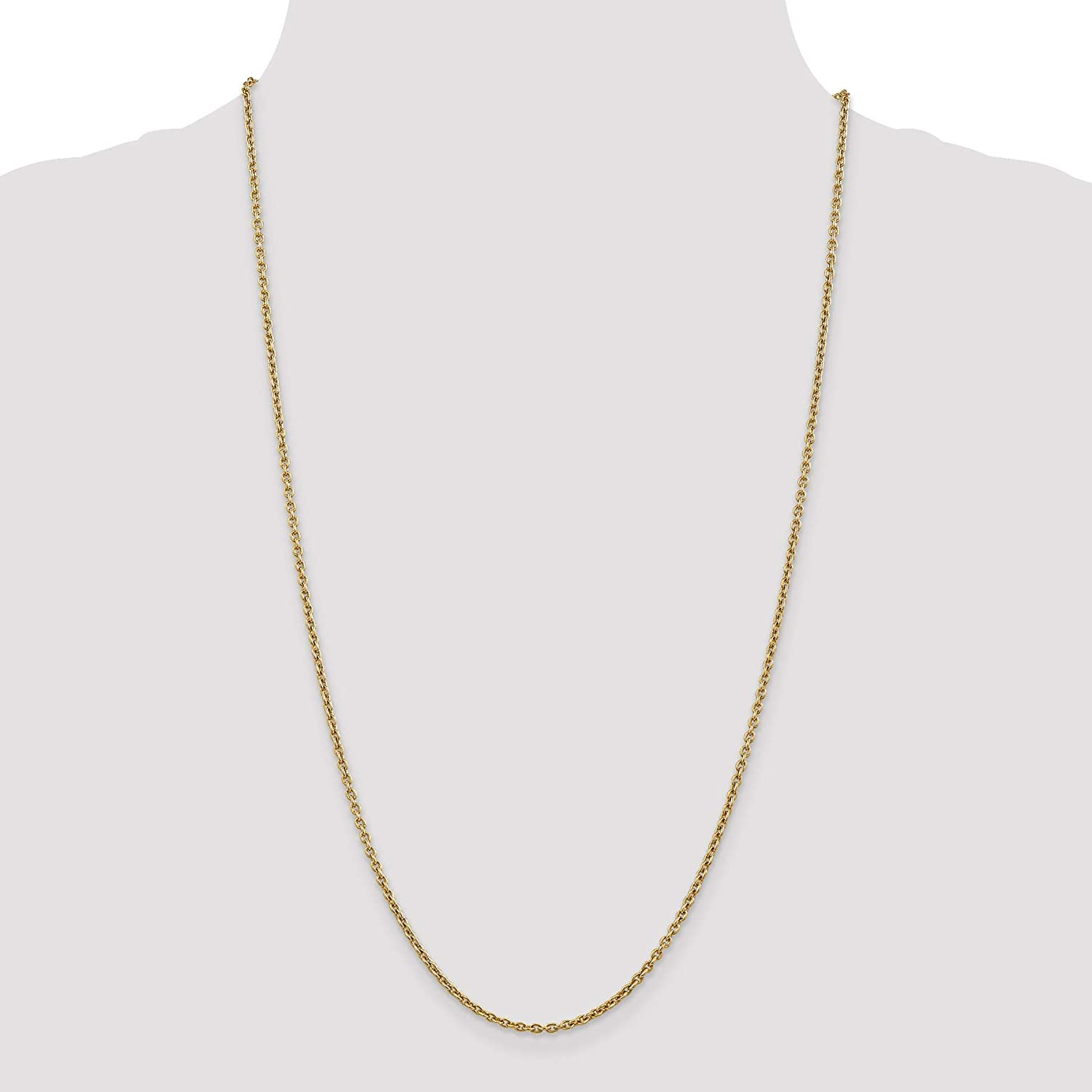 Bonyak Jewelry 14k 2.2mm Solid Polished Cable Chain Anklet in 14k Yellow Gold