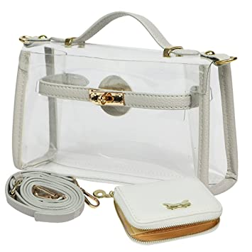 Image result for kilofly Women's Purse Small Transparent Shoulder Crossbody Clear Clutch + Wallet