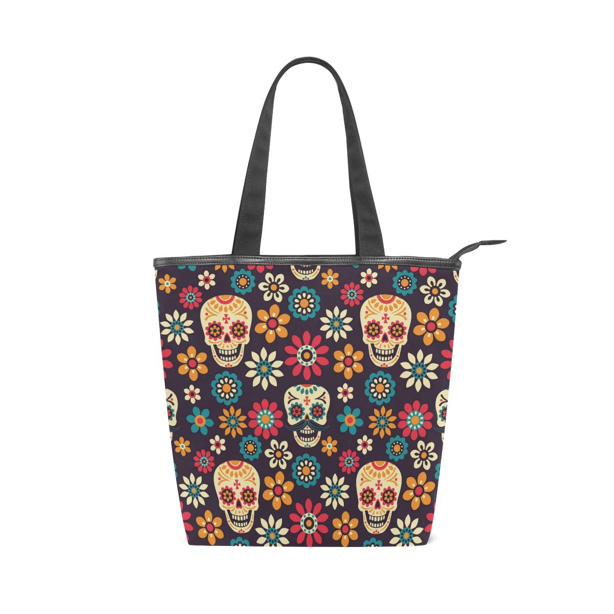 SHANGLONG DIY Womens Canvas Tote Bag Skull for College School Laptop Books Daily Use
