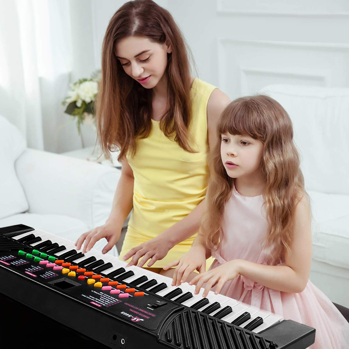 Tangkula 54-Key Electronic Keyboard for Kids Beginners with Mic & Adapter Including LED Digital Display, Learning Function & Demo Songs Standard Accordion Keys Piano Keyboard (Black) by TANGKULA (Image #2)
