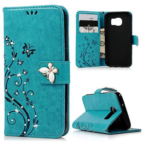 S7 Case,Samsung Galaxy S7 Case - Maviss Diary 3D Handmade Wallet Bling Crystal Diamonds Butterfly Embossed Floral PU Leather Fashion Flip Folio Cover with Wrist Strap Card Slots TPU Rubber Inner Case