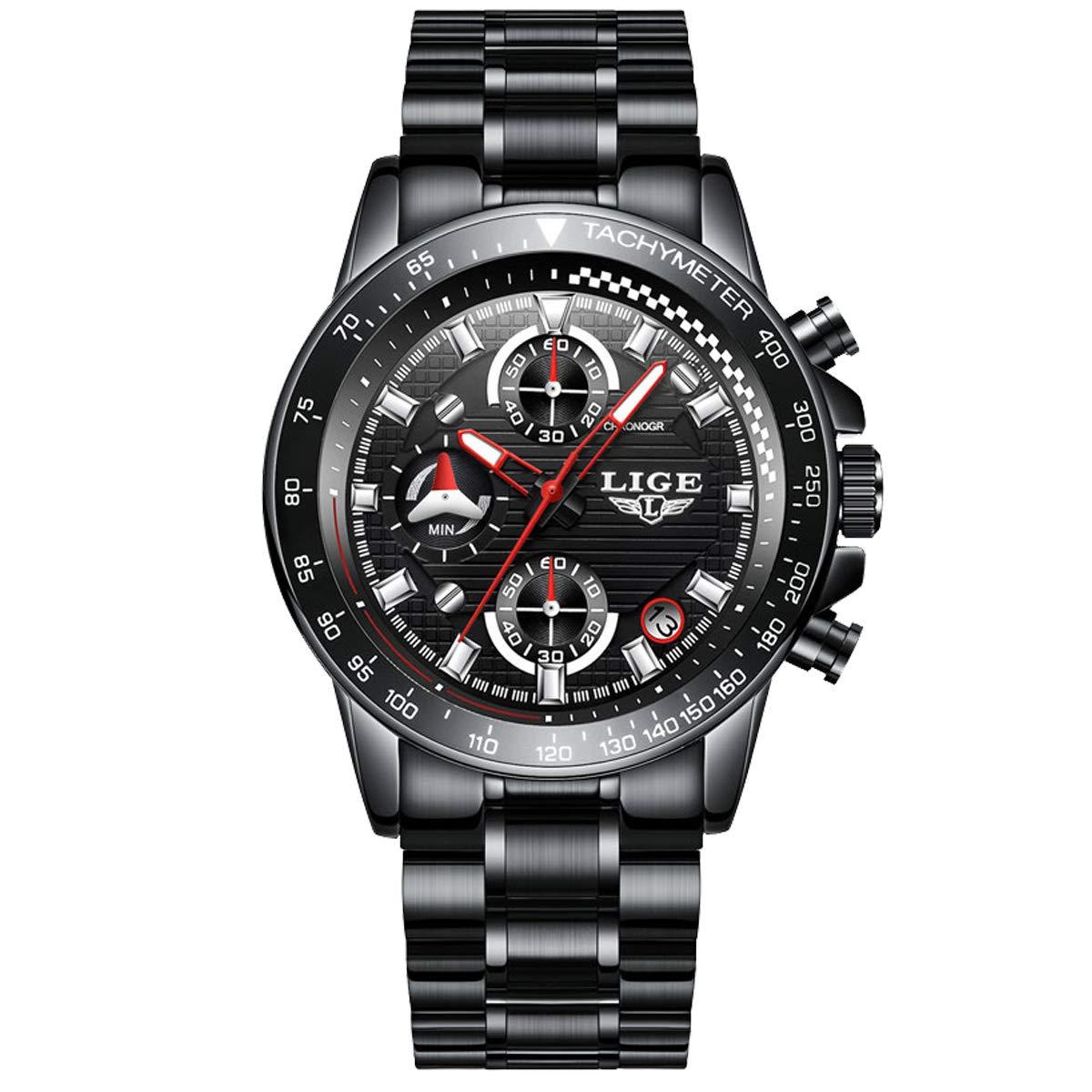 Watches Mens Steel Band Quartz Analog Wrist Watch with Chronograph Waterproof Sports Black Watch