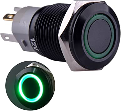Ulincos Momentary Push Button Switch U16F1 1NO1NC Silver Stainless Steel Shell with 12V Green LED Ring Suitable for 16mm 5//8 Mounting Hole Green
