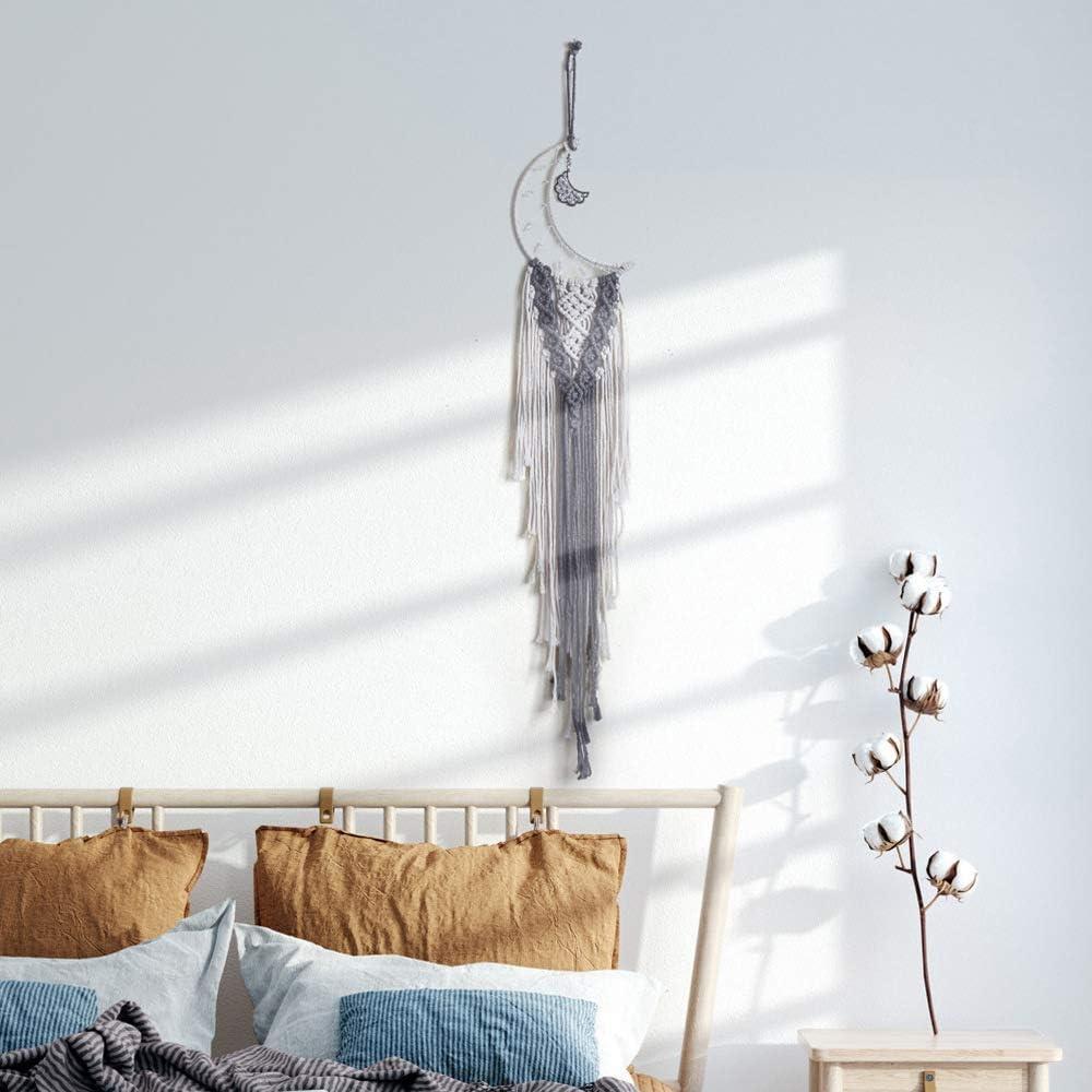 decorazione per camino decorazione da parete in tessuto Acchiappasogni a forma di luna in corda di cotone artigianato regalo camera da letto festival WBTY