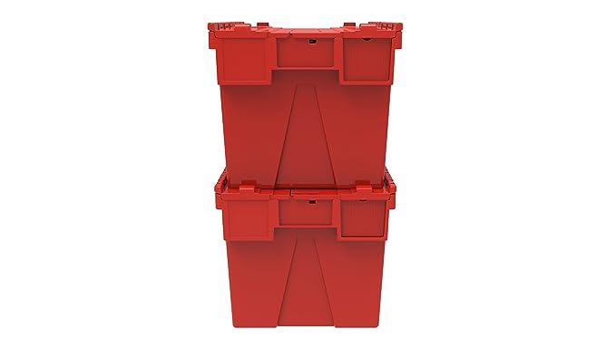 2 x adjunta caja de plástico en color 65 litros - rojo, azul o verde plástico caja con caja de almacenamiento con xolair intarsia envase - diseño de tapa ...