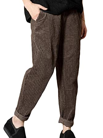 506055a026c Lutratocro Women s Solid Harem Pocket Elastic Waist Plus Size Corduroy  Pencil Pants at Amazon Women s Clothing store