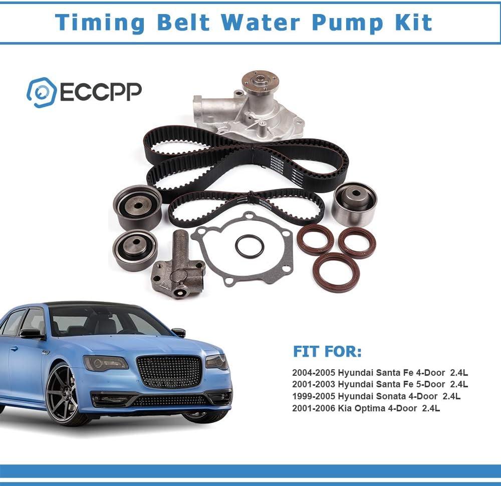ECCPP Timing Belt Water Pump Kit Fit for 1999-2006 Hyundai Kia 2.4L L4 G4JS